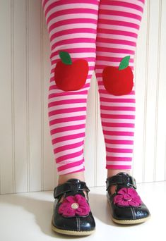 Leggings Pink Stripe with Apples   Girls Sizes by thetrendytot