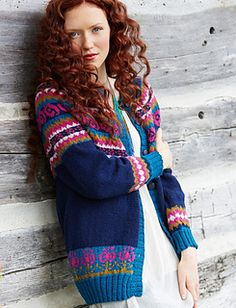 This stunning fair isle cardigan is a great way to show off your knitting skills. (Yarnspirations)