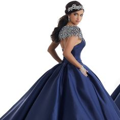 2017 Navy Blue Satin Quinceanera Dresses with Silver