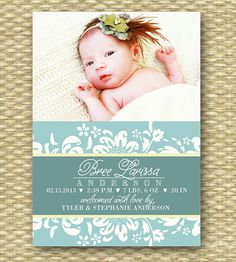 Custom Birth Announcement  Elegant Bree  by SunshinePrintables, $15.00