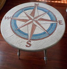 Cream, Turquoise and Copper Nautical Compass Table