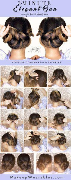 3-Minute Elegant Bun Hairstyle | Easy Spring Updo Hair Style |  #braid