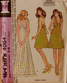 Halter Dresses  1970's  McCall's Pattern 4064  by patterntreasury