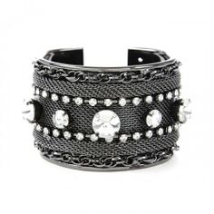 Crystal and Chain Cuff  - Gunmetal