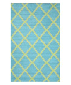Look at this Turquoise Lattice Wool Rug on #zulily today!