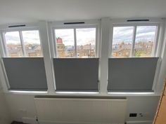We made and fitted these bottom up roller blinds in grey blackout fabric for the sash windows in this spare bedroom in Queens Park, London Blinds Inspiration, Bedroom Blinds, Brighton And Hove, Sash Windows, Home Cinemas, Roller Blinds, About Uk, Queens, London