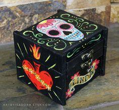 Custom Personalized Sugar Skull Wooden Box  Day of by ArtByIsadora