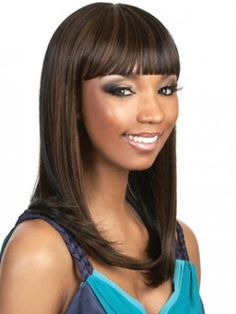 bold african american make up | Long Sleek Style With Bold Bangs Wig, African American Hair Weaves ...