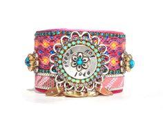 Ibiza chic hippie cuff bracelet - friendship bracelet cuff with studs and Swarovski - handstamped jewelry peace love joy - boho chic.