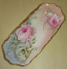Elite Limoges France Roses Hand Painted China Tray Signed Lajus Porcelain c1900