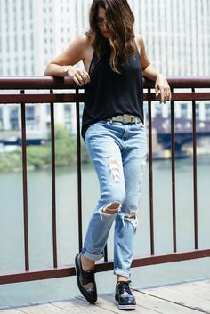 Ria Michelle in Express Girlfriend jeans   pleated cami | Wear ...