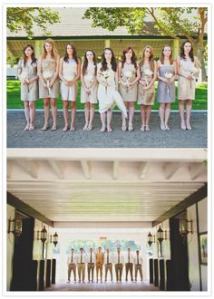 This is what I want-- my bridal party all in different clothes, but the same general color scheme and style.