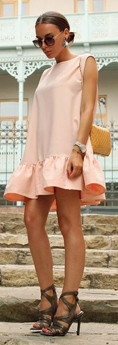 Achers Apricot Loose Ruffle Hem Sleeveless Mini Dress