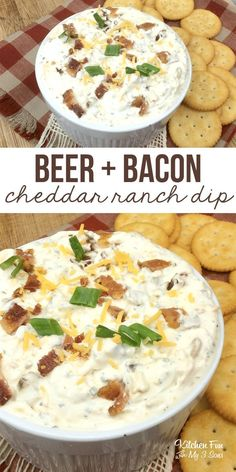 Beer Bacon Cheddar Ranch Dip Beer Bacon Cheddar Ranch Dip,Fantastic Recipes This recipe for Beer Bacon Cheddar Ranch Dip is one of my absolute faves. It's so simple. It's wonderfully rich, creamy and savory. Perfect for the Super Bowl! Appetizer Dips, Appetizers For Party, Appetizer Recipes, Party Snacks, Dip Recipes For Parties, Simple Appetizers, Parties Food, Beer Recipes, Cooking Recipes