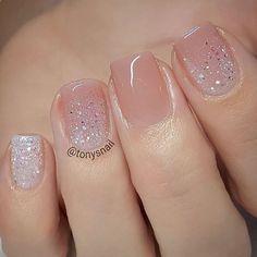 Blush pink nails with a bit of sparkle #PedicureIdeas #GlitterFashion
