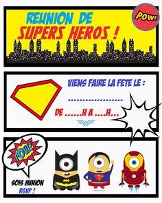 enveloppes super héros A6 Minion film personnalisé fête d/'anniversaire invitations