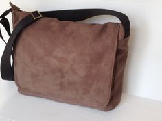 Vegan men messenger bag, aged leather look vegan brown messenger ...