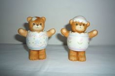 2 Lucy and Me Figurine Bears in Easter Eggs - Enesco 1985 Lucy Rigg