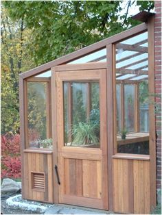 Lean-to cedar greenhouse kits Best Greenhouse, Indoor Greenhouse, Greenhouse Growing, Greenhouse Plans, Portable Greenhouse, Greenhouse Wedding, Lean To Greenhouse Kits, Greenhouse Attached To House, Old Window Greenhouse