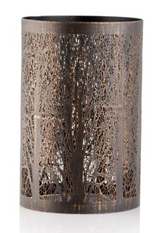 Pink Zebra RUSTIC LODGE BRANCHES METAL SHADE (4.5'' DIAM. X 7.5'' HIGH) #4008683 A metal shade with black finish depicts a dense forest where the lamp light resembles streaming natural light. Shop now at www.pinkzebrahome.com/lynettehanson