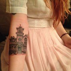 Victorian house tattoo