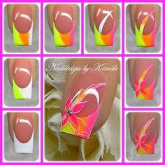 Fluorescent Tips with Flower Nail Art Tutorial Neon Nail Art, Neon Nails, Easy Nail Art, Diy Nails, Pink Nail, Fancy Nails, Cute Nails, Pretty Nails, Nail Tip Designs