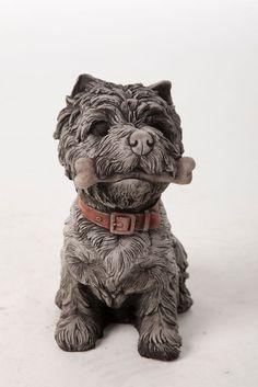 Oswaldtwistle Mills   Oakley Stone Animals - Small Terrier Bone