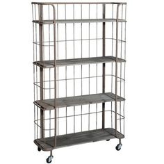 Large Industrial Shelf Trolley - Distressed Grey | Farthing