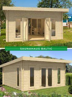 Sauna Entspannung: Unser Saunahaus Baltic bietet Ihnen das Maximum an Entspannung. Im Inneren des Saunahauses befindet sich nicht nur eine Eck-Sauna, sondern Sie haben genug Platz, um Liegen oder aber auch ein Sofa zu platzieren. Erfahren Sie jetzt Produktdetails! #Saunahaus #Sauna #Gartensauna #Entspannung Outdoor Bathrooms, I Site, Pergola, Shed, Outdoor Structures, Patio, Home And Garden, Pool Chairs, Outdoor Pergola
