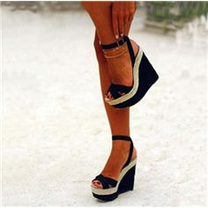 Ankle Strap Peep-toe Wedge Sandals