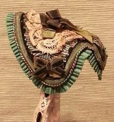 Lovely Shades of Green Victorian Fanchon Bonnet for French Fashion (item #1287124)