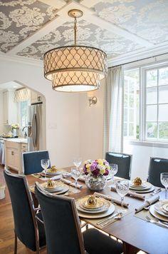 Elegant Chandelier In This Lovely Dining Room DINING ROOM - Dining room drum chandelier