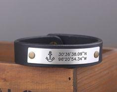 Personalized Anchor Leather Bracelet  Mens Leather Bracelet