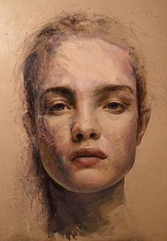 Artist: Richard Young, encaustic {figurative #expressionist art beautiful female head woman face portrait grunge painting #loveart}