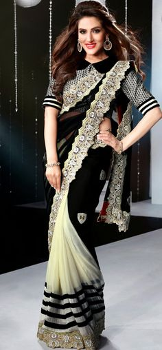 Black and offwhite cocktail saree: KSR2552