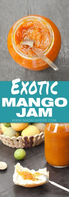 Homemade Mango Jam Recipe - Make your own mango jam from scratch with fresh mang. - Summertime Recipes - Make Bread Jelly Recipes, Jam Recipes, Fruit Recipes, Dessert Recipes, Cooking Recipes, Desserts, Drink Recipes, Bread Recipes, Mango Mousse