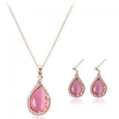 A Suit of Sweet Faux Opal Rhinestone Waterdrop Necklace and Earrings For Women