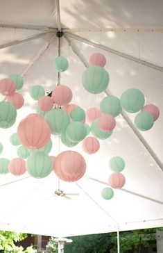 pink and green paper lanterns