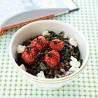 Linzensalade met geroosterde tomaatjes en feta - recept - okoko recepten