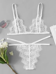 SheIn offers Eyelash Lace Strappy Bra & Panty Lingerie Set & more to fit your fashionable needs. White Lace Lingerie, Cute Lingerie, Bra Lingerie, Lingerie Sleepwear, Women Lingerie, Lingerie Models, Ropa Interior Vintage, Underwear Pattern, Chic Et Choc