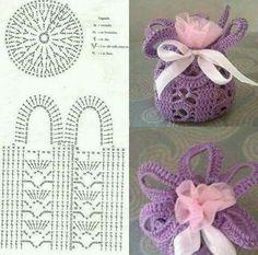 Crochet Basket For Souvenirs And Decoration >> free graph/patternAccesories Archives - Beautiful Crochet Patterns and Knitting Patterns- Diversamente Crochet By MaryRose Crochet Sachet, Free Crochet Bag, Crochet Shell Stitch, Crochet Chart, Crochet Gifts, Crochet Doilies, Crochet Flowers, Filet Crochet, Beau Crochet