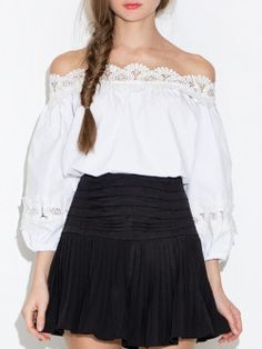 Lace Patchwork Off Shoulder Slash Neck Blouses  See more>>http://www.fashionmia.com/tops-60/