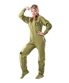 Take a look at this Green 'U.S. Army' Footed Pajamas - Adults on zulily today!