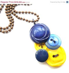 Mothers Day Sale Bright Blue and Yellow Vintage Button Pendant Necklace. $12.00, via Etsy.