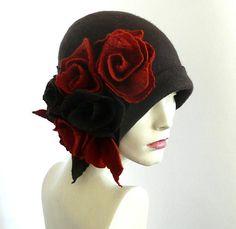5993424b05b Black felt hat felt Cloche hat felted hat Hat 1920 Hat Art Black Hat Cloche  Victorian 1920 s Women s hat roses Downton Abbey hats