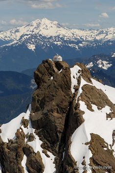 Three Fingers Lookout. Requires some scrambling and an ice axe, crampons recommended. Free to stay in on a first come, first serve basis. Mt Baker, Snoqualmie National Forest, Washington.