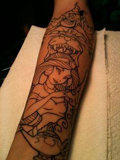 Aladdin tattoo. Love the way jasmin looks