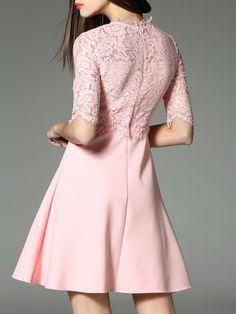 Pink Plain Half Sleeve Cotton-blend A-line Mini Dress