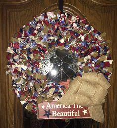 20 Fourth of July Wreath red white blue by PensPreciousTreasure