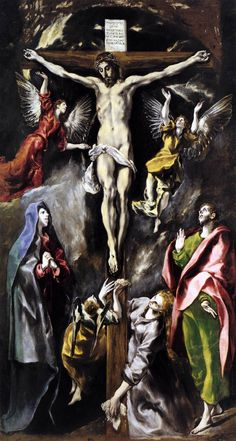 El Greco - The Crucifixion (Prado, Madrid / Spanish Painters, Spanish Artists, Catholic Art, Religious Art, Klimt, Renaissance Kunst, Bild Tattoos, Great Paintings, Christian Art